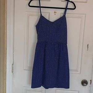 Blue and white polka dot jersey dress